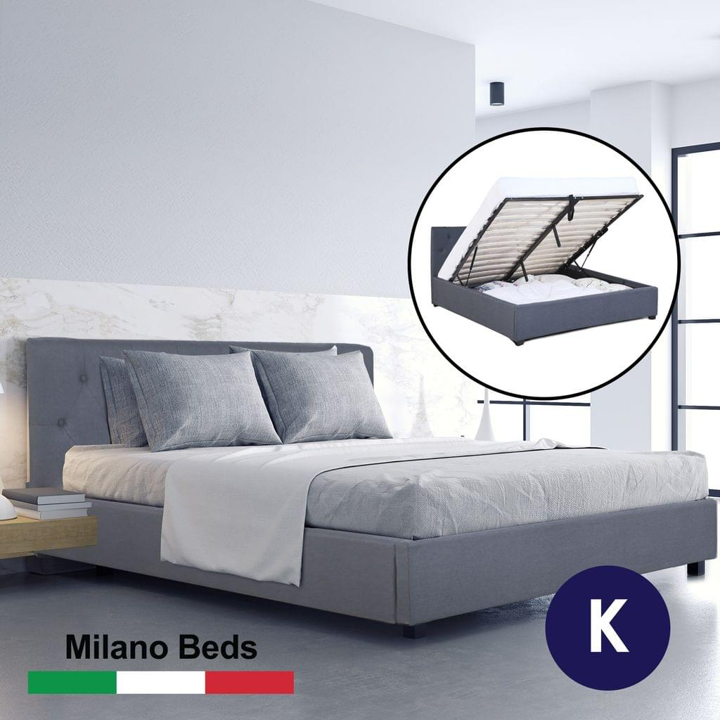 (KING) Milano Capri Luxury Gas Lift Bed Frame Base And Headboard With Storage All Sizes - Grey