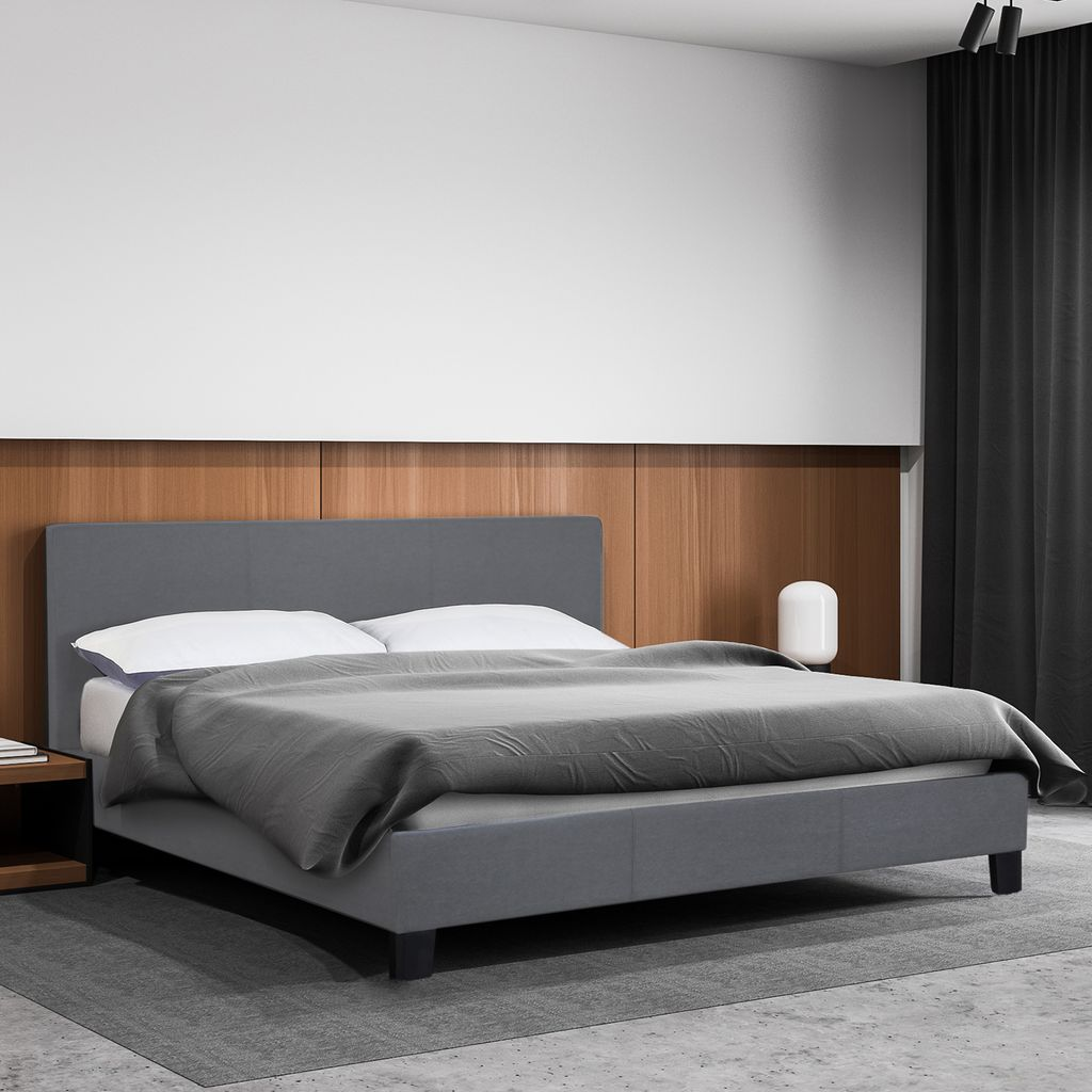 (DOUBLE) Milano Sienna Luxury Bed Frame Base And Headboard Solid Wood Padded Linen Fabric  - Grey