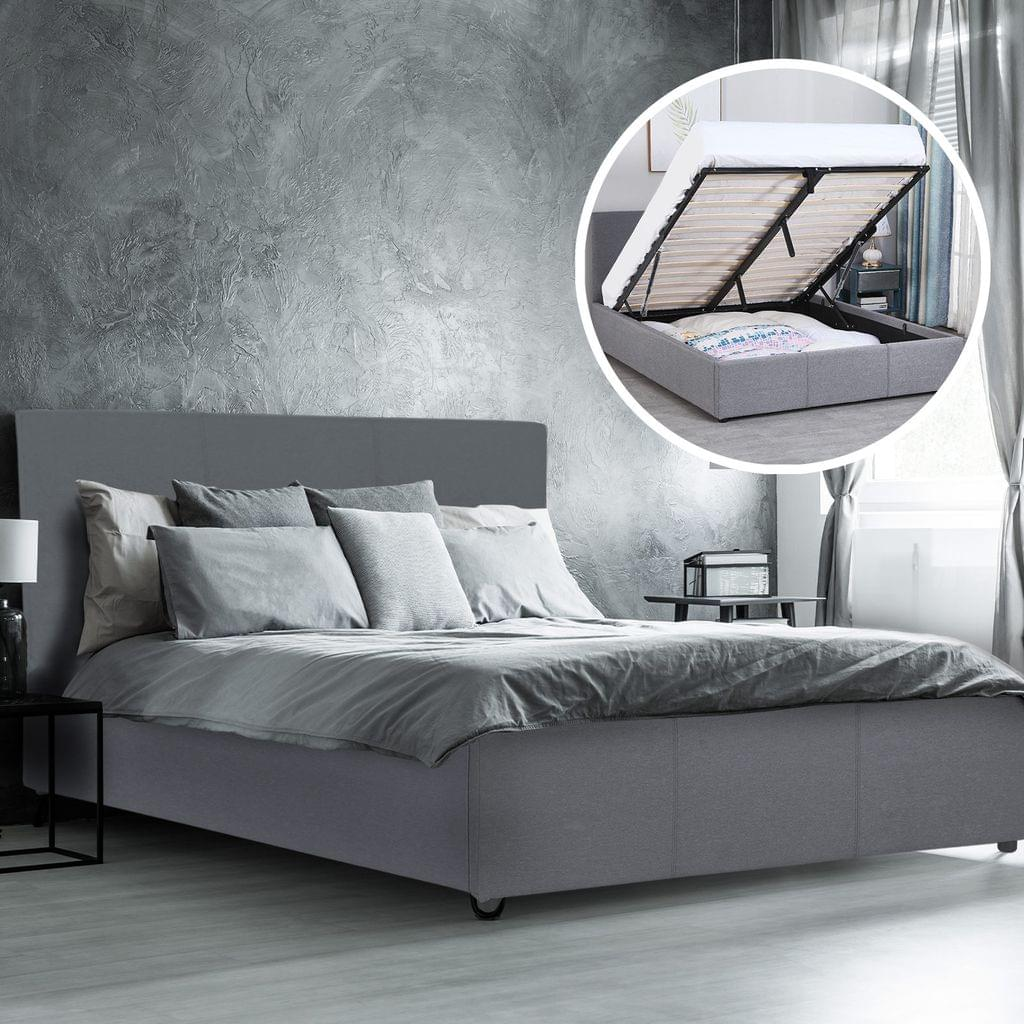 (DOUBLE) Milano Luxury Gas Lift Bed Frame Base And Headboard With Storage All Sizes - Grey