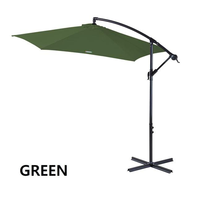 Milano Outdoor 3 Metre Cantilever Umbrella UV Sunshade Garden Patio Deck - Green