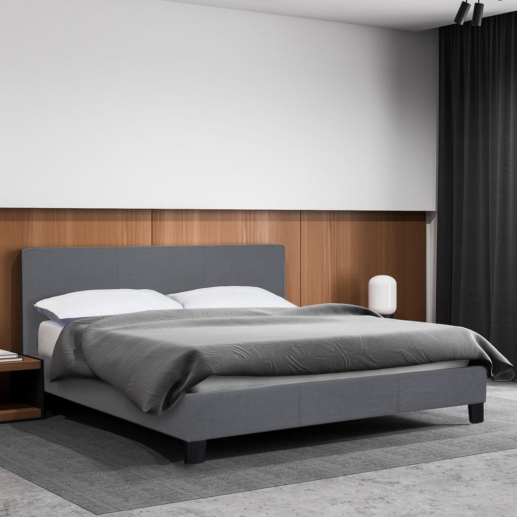 (QUEEN ) Milano Sienna Luxury Bed Frame Base And Headboard Solid Wood Padded Linen Fabric  - Grey