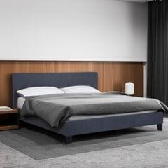 (KING) Milano Sienna Luxury Bed Frame Base And Headboard Solid Wood Padded Linen Fabric - Charcoal