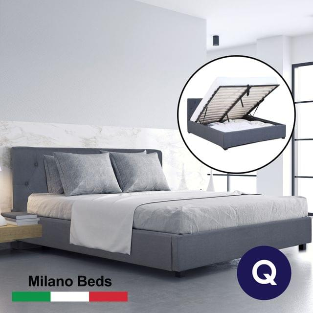 (QUEEN) Milano Capri Luxury Gas Lift Bed Frame Base And Headboard With Storage All Sizes - Grey