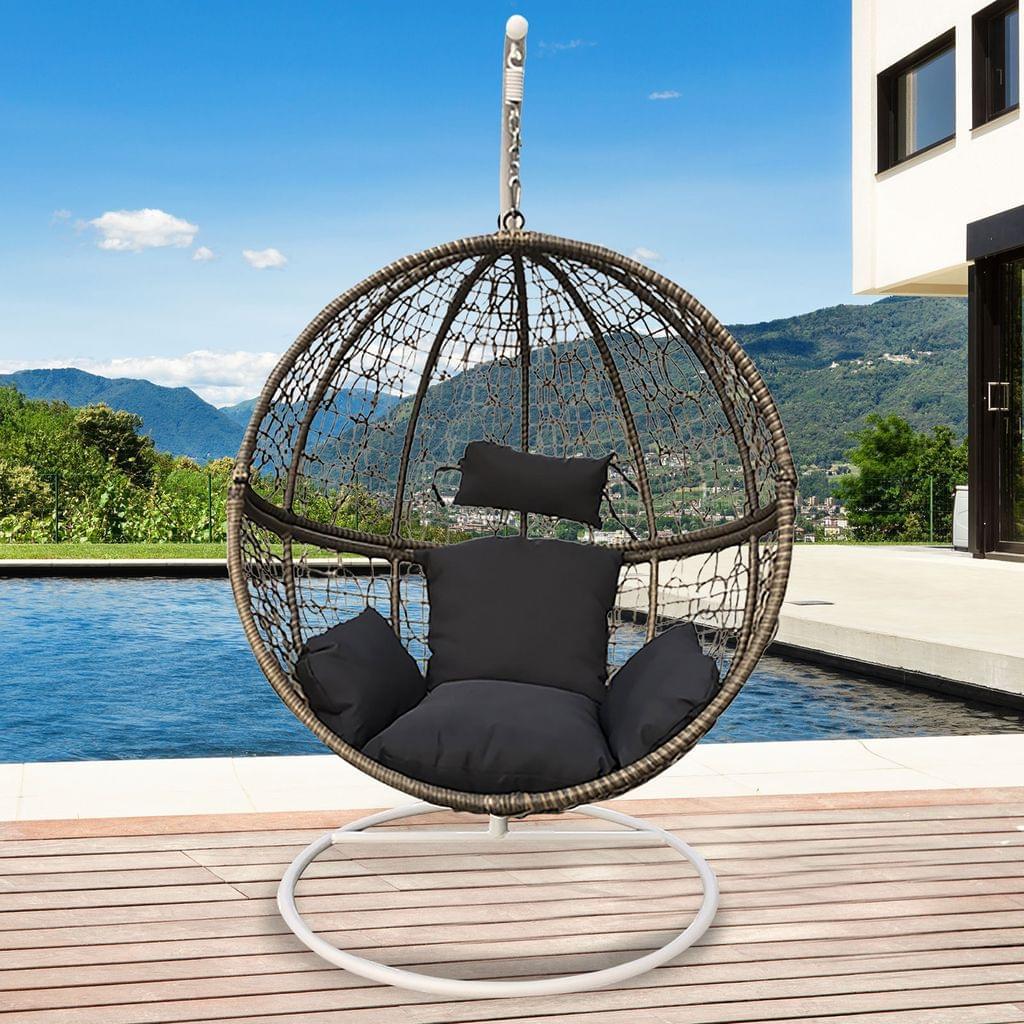Arcadia Furniture Rocking Egg Chair Outdoor Wicker Rattan Patio Garden Circular - Oatmeal and Grey