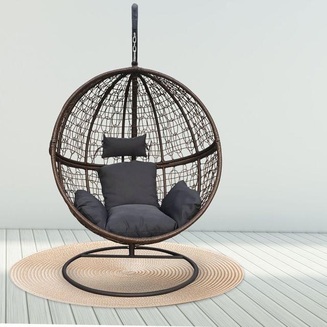 Arcadia Furniture Rocking Egg Chair Outdoor Wicker Rattan Patio Garden Circular - Brown and Grey