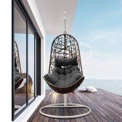 Arcadia Furniture Hanging Basket Egg Chair Outdoor Wicker Rattan Patio Garden - Oatmeal and Grey