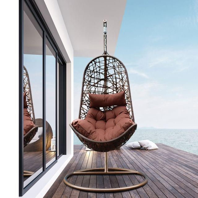 Arcadia Furniture Hanging Basket Egg Chair Outdoor Wicker Rattan Patio Garden - Brown and Coffee
