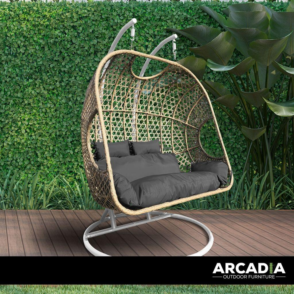Arcadia Furniture 2 Seater Rocking Egg Chair Outdoor Wicker Rattan Patio Garden - Oatmeal and Grey