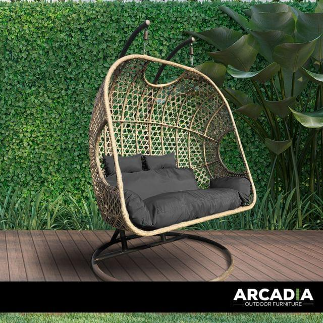 Arcadia Furniture 2 Seater Rocking Egg Chair Outdoor Wicker Rattan Patio Garden - Brown and Grey