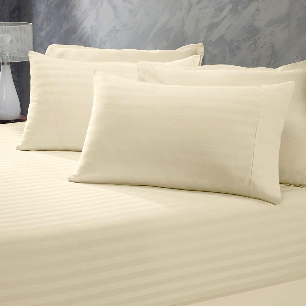 (KING)Royal Comfort 1200 Thread Count 3 Piece Combo Set 100% Egyptian Cotton Striped - King - Sand