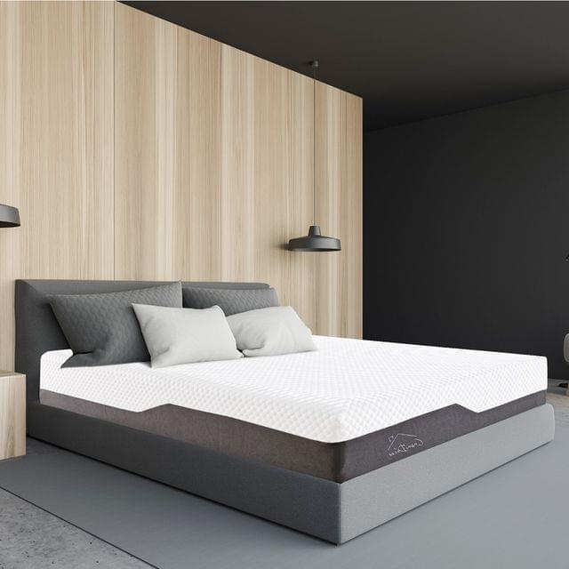 (KING) Casa Decor Memory Foam Luxe Hybrid Mattress Cool Gel 25cm Depth Medium Firm - White  Charcoal Grey