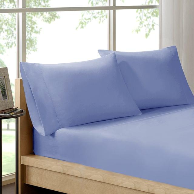 (KING)Royal Comfort 100% Organic Cotton Sheet Set 3 Piece Luxury 250 Thread Count - King - Indigo