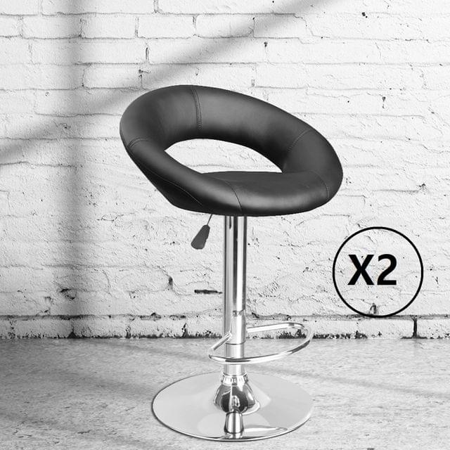 2 x Milano Decor Delilah Adjustable Barstools Black Circular Arc Swivel Chrome