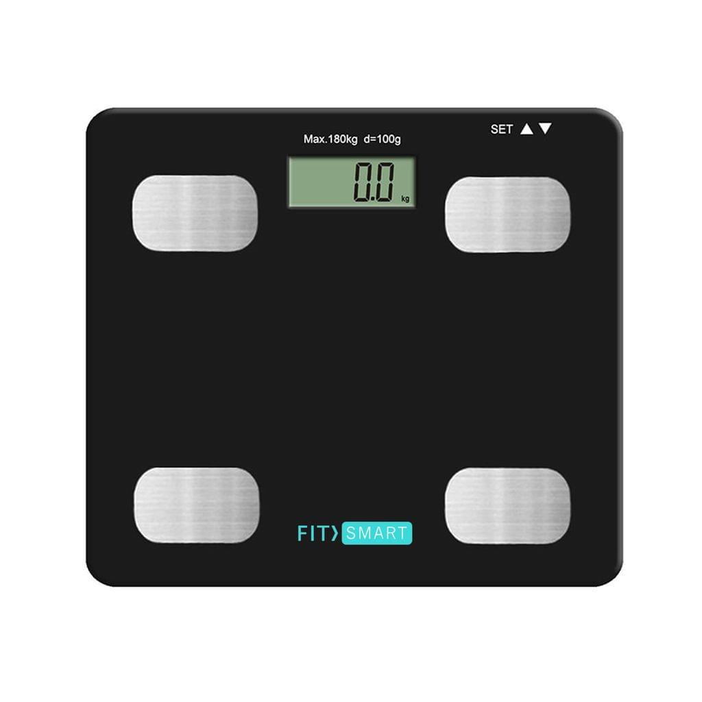 Fit Smart Electronic Floor Body Scale Black Digital LCD Glass Tracker Bathroom