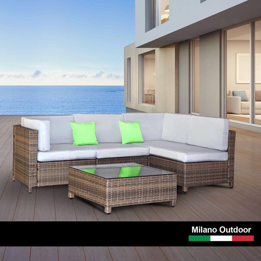 Milano Decor 5 Piece Outdoor Sofa Set Rattan Oatmeal Black Patio Garden Lounge
