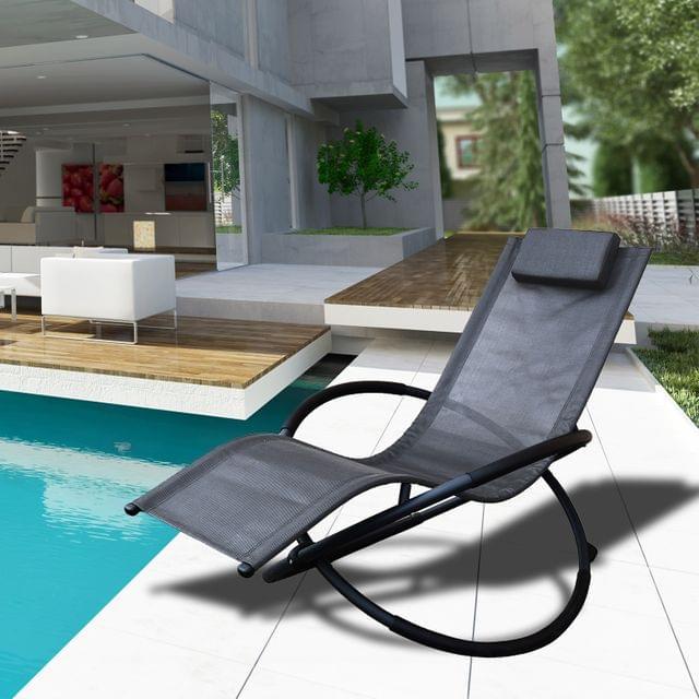 Arcadia Furniture Zero Gravity Portable Foldable Rocking Chair Recliner Lounge - Grey