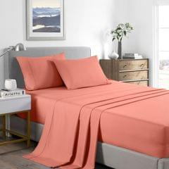 (SINGLE) Casa Decor 2000 Thread Count Bamboo Cooling Sheet Set Ultra Soft Bedding - Peach