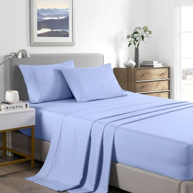 (SINGLE) Casa Decor 2000 Thread Count Bamboo Cooling Sheet Set Ultra Soft Bedding - Light Blue
