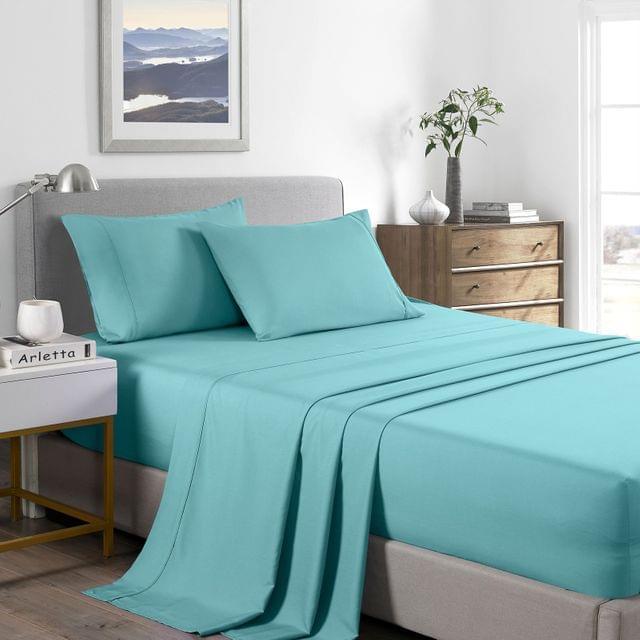 (SINGLE) Casa Decor 2000 Thread Count Bamboo Cooling Sheet Set Ultra Soft Bedding - Aqua