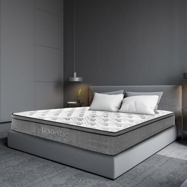 (KING) Luxopedic Pocket Spring Mattress 5 Zone 32CM Euro Top Memory Foam Medium Firm - King - White  Grey