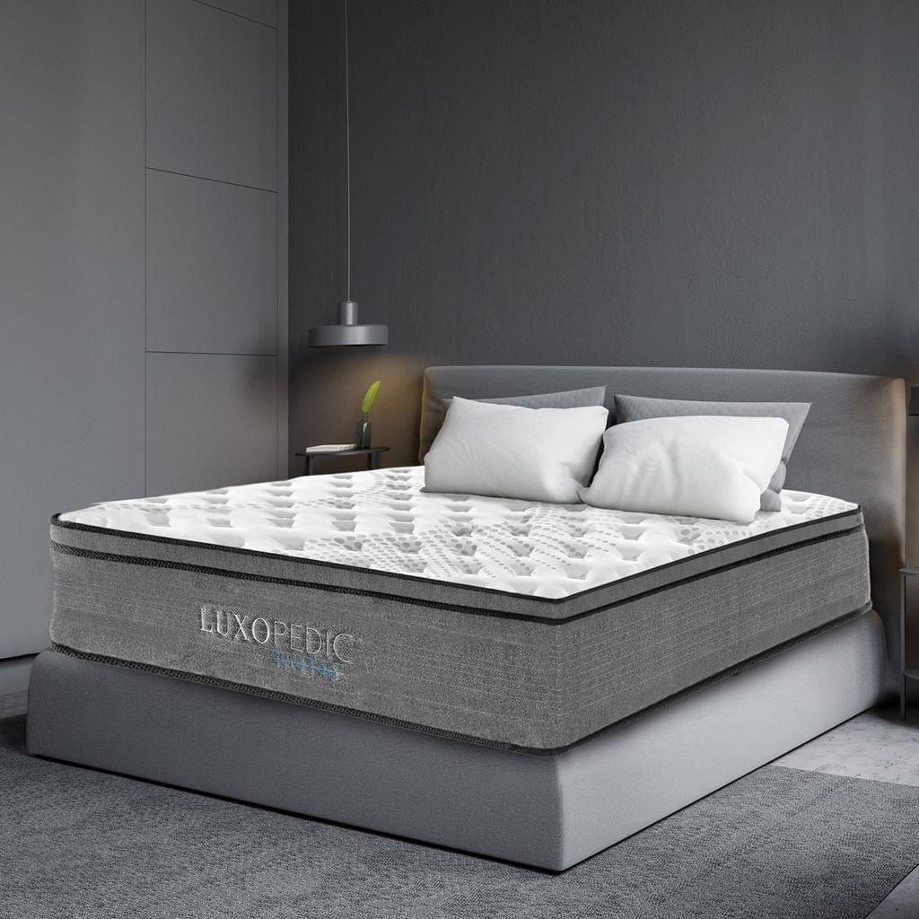 (QUEEN) - Luxopedic Pocket Spring Mattress 5 Zone 32CM Euro Top Memory Foam Medium Firm -- White  Grey