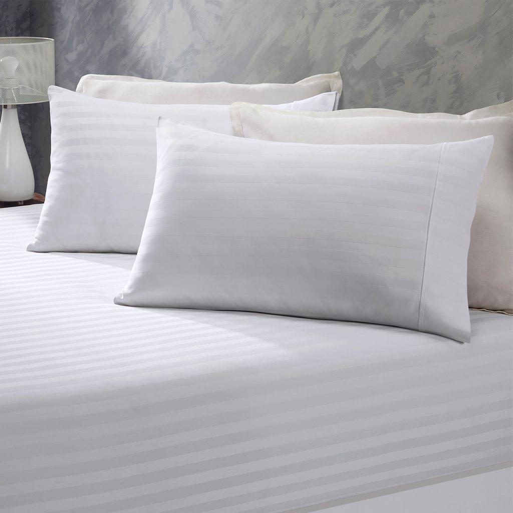 (DOUBLE)Royal Comfort 1200 Thread Count 3 Piece Combo Set 100% Egyptian Cotton Striped  White