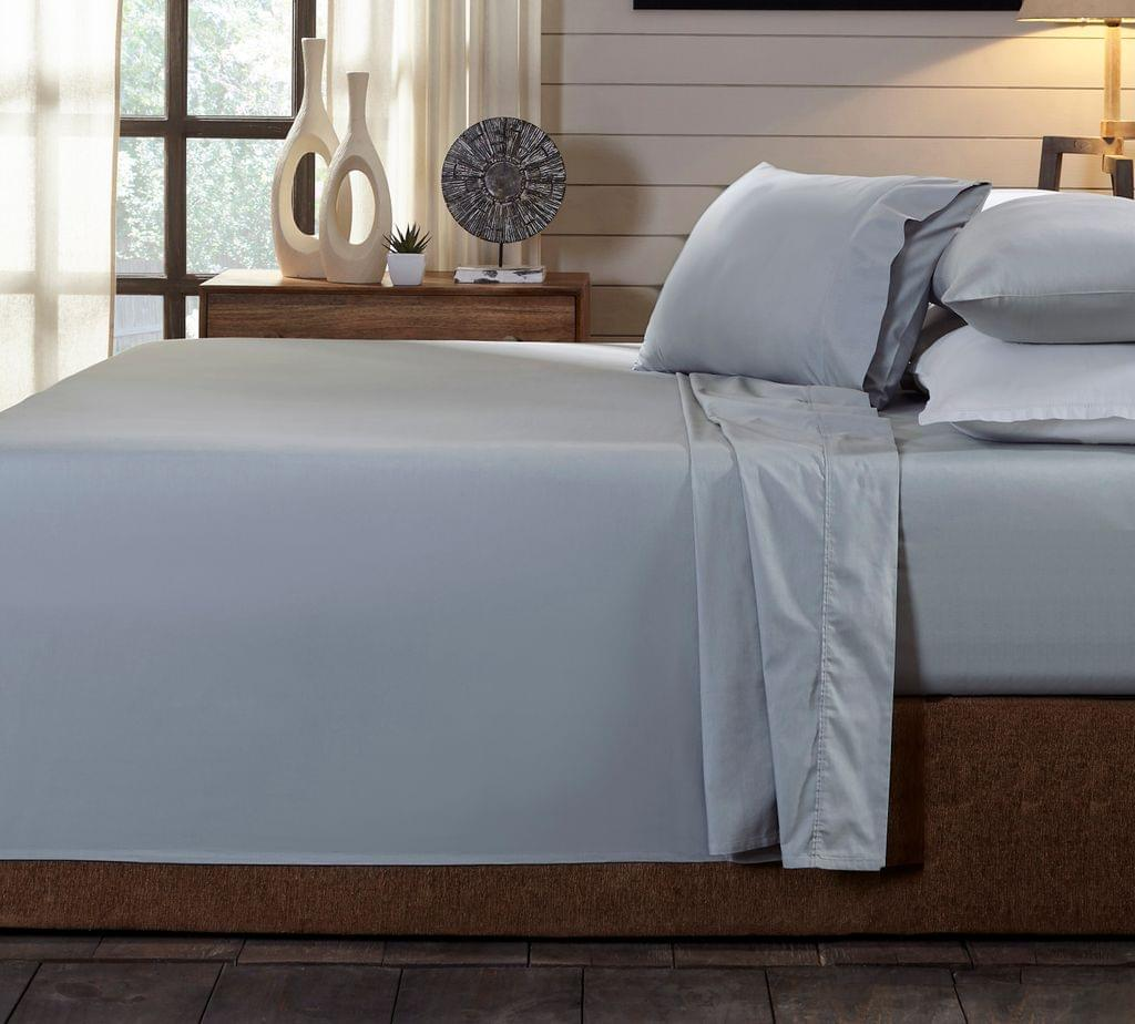 (KING)Royal Comfort 250TC Organic 100% Cotton Sheet Set 4 Piece Luxury Hotel Style - King - Graphite
