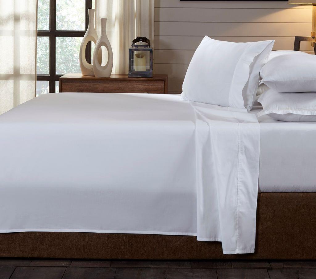 (KING)Royal Comfort 250TC Organic 100% Cotton Sheet Set 4 Piece Luxury Hotel Style - King - White