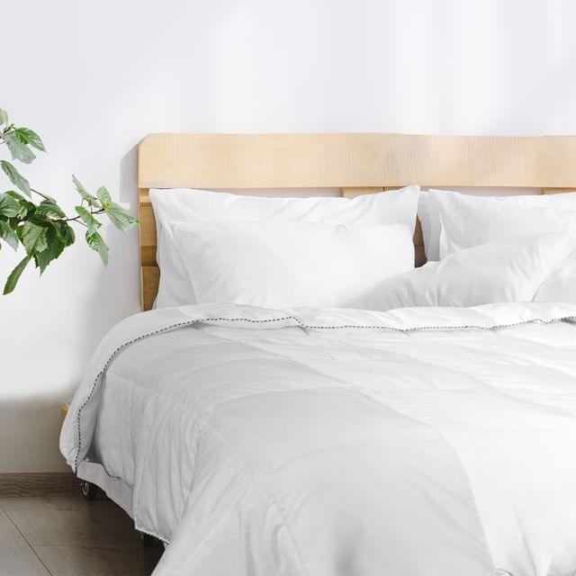 (QUEEN)Royal Comfort Bamboo Blend Quilt 250GSM Luxury Doona Duvet 100% Cotton Cover  White