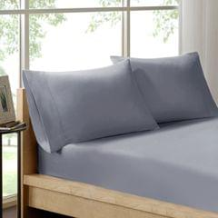 (DOUBLE)Royal Comfort 100% Organic Cotton Sheet Set 3 Piece Luxury 250 Thread Count  Graphite