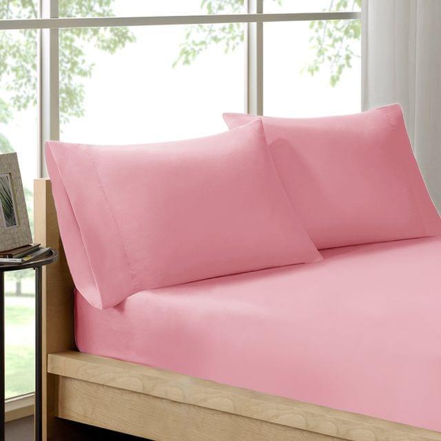 (DOUBLE)Royal Comfort 100% Organic Cotton Sheet Set 3 Piece Luxury 250 Thread Count  Blush