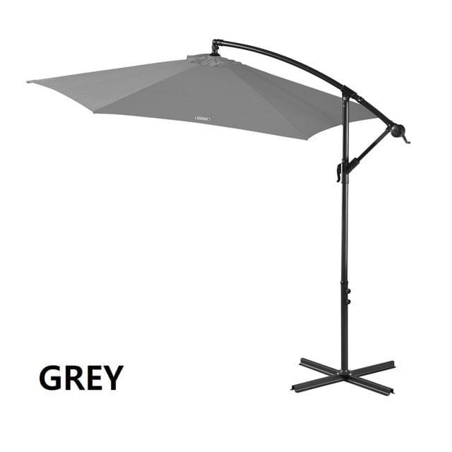 Milano Outdoor 3 Metre Cantilever Umbrella UV Sunshade Garden Patio Deck - Grey