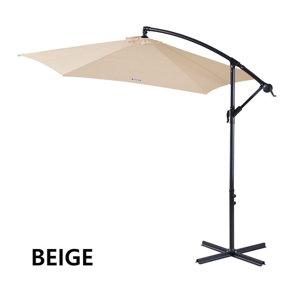 Milano Outdoor 3 Metre Cantilever Umbrella UV Sunshade Garden Patio Deck - Beige