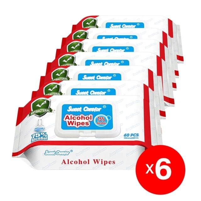 6 Pack (300 Pieces) Wipes 75% Alcohol Hand Surface Use