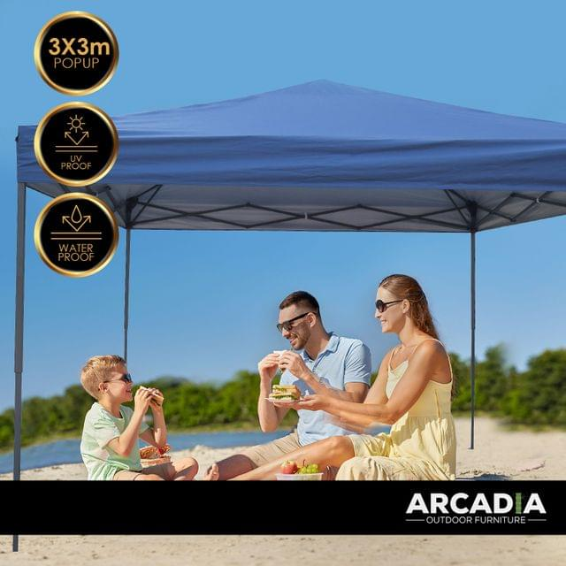 Arcadia Furniture Gazebo 3 x 3 Metre Canopy Navy Portable Pop Up Outdoor Beach