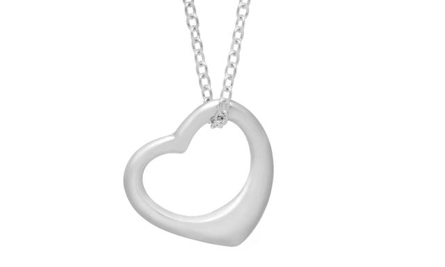 "18"" Open Heart Pendant Necklace in Rhodium-Plated Brass"