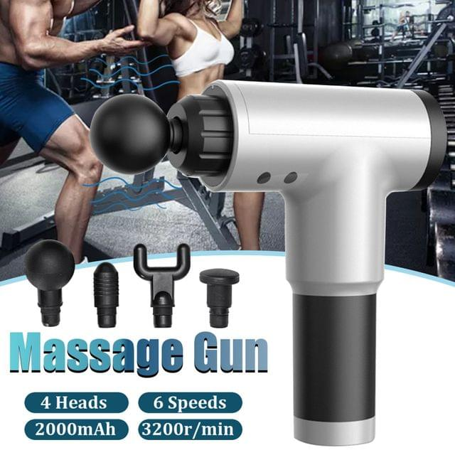 Fit Smart Vibration Massage Therapy Device Black Grey 4 Massage Heads 6 Modes