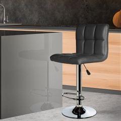 Milano Decor Stella Adjustable Barstool Black High Back Chrome PU Leather Swivel