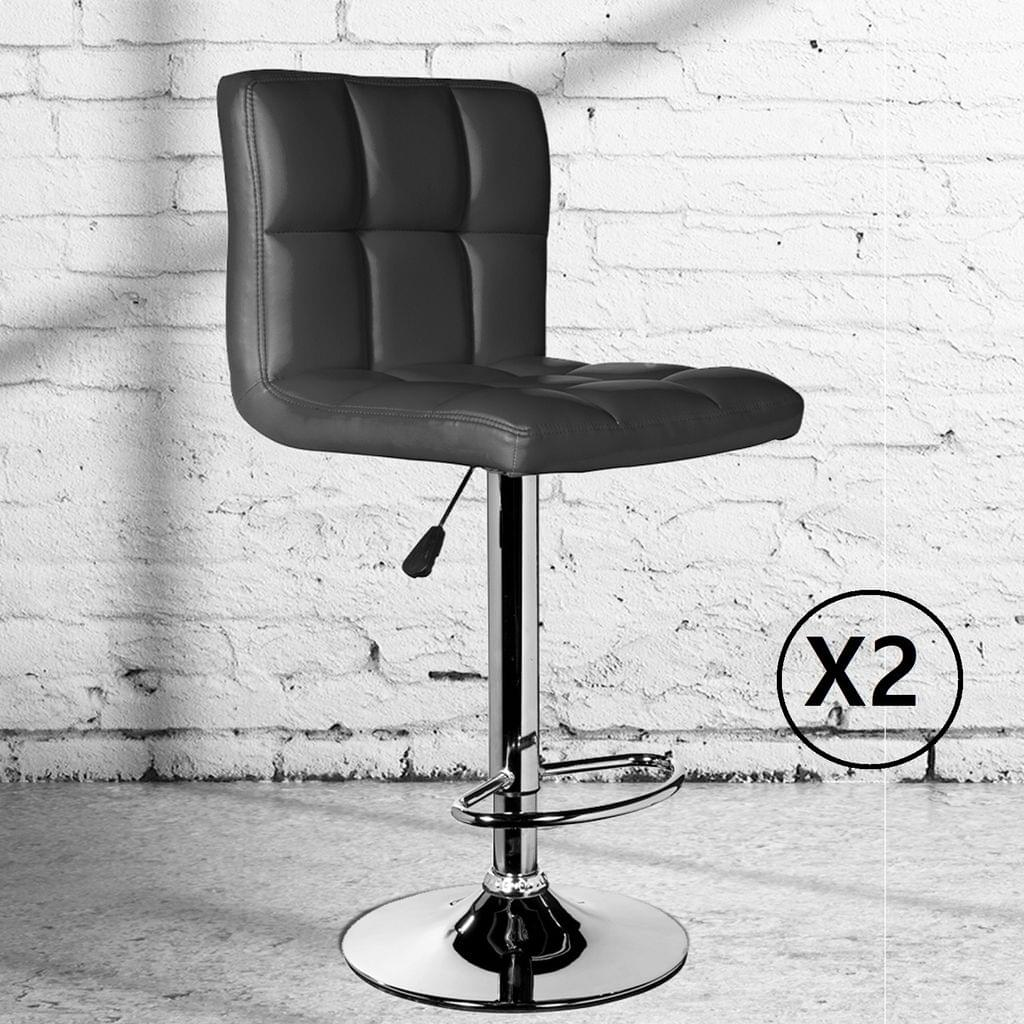 2 x Milano Decor Stella Adjustable Barstools Black High Back Chrome Swivel