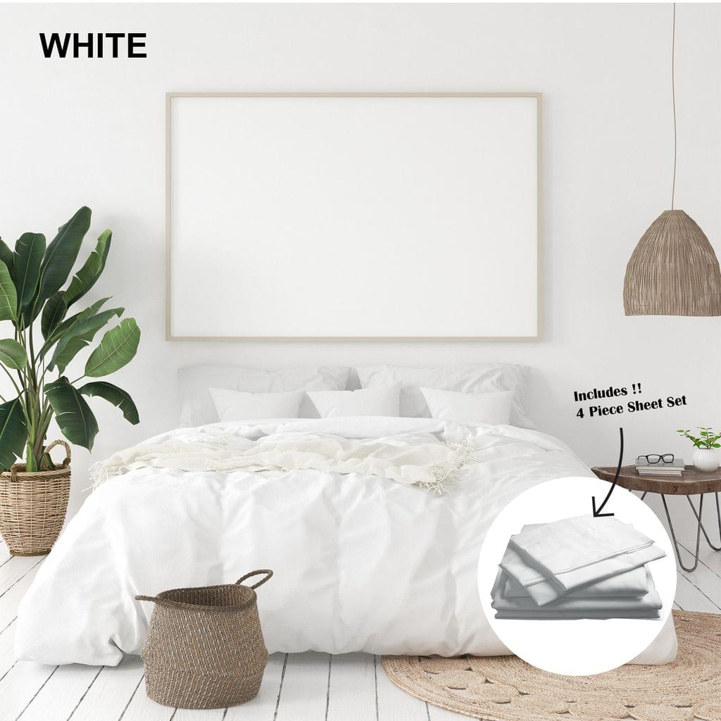 Royal Comfort 1000 Thread Count Bamboo Cotton Sheet and Quilt Cover Complete Set - Queen - White