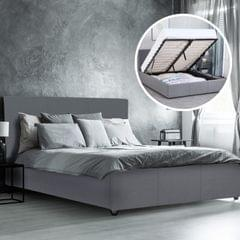 Milano Luxury Gas Lift Bed Frame Base And Headboard With Storage All Sizes - Queen - Grey