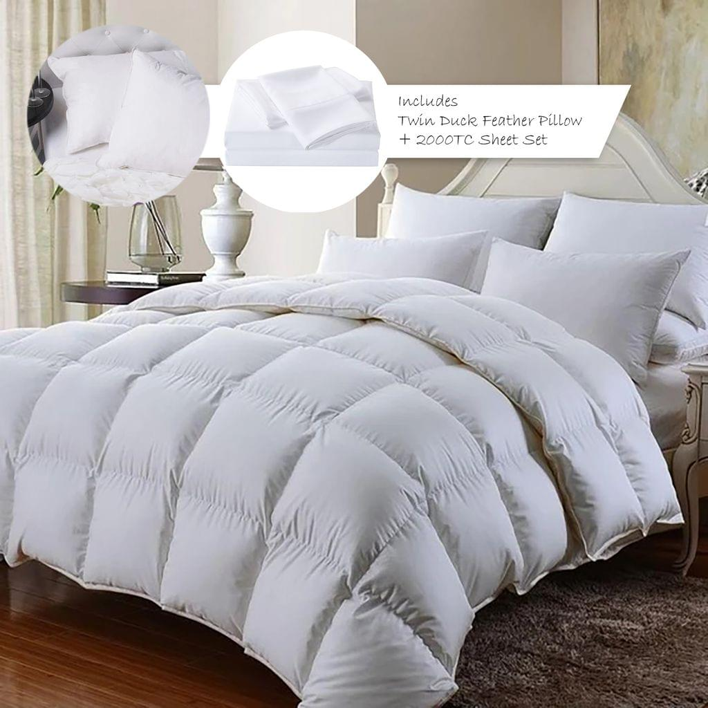 (SINGLE)Royal Comfort 350GSM Bamboo Quilt  2000TC Sheet Set And 2 Pack Duck Pillows Set - Single - White