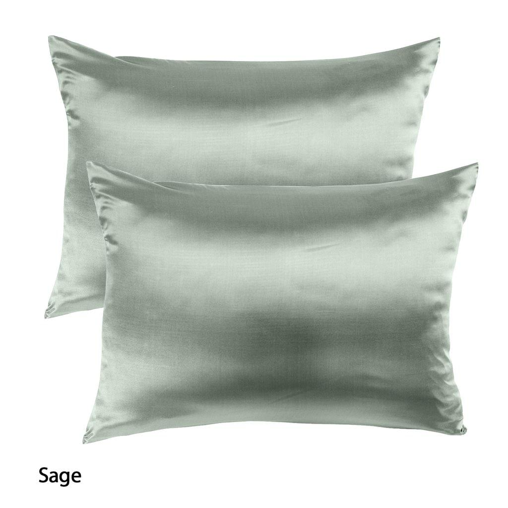 Royal Comfort Mulberry Soft Silk Hypoallergenic Pillowcase Twin Pack 51 x 76cm - Sage