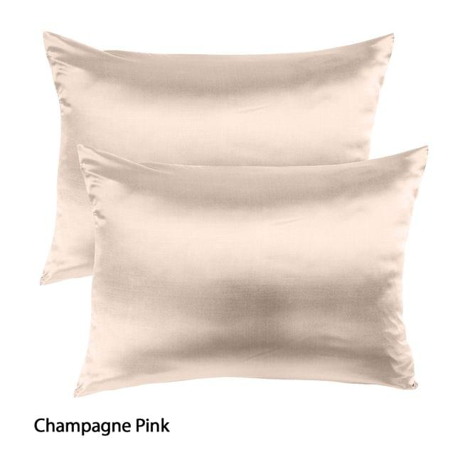 Royal Comfort Mulberry Soft Silk Hypoallergenic Pillowcase Twin Pack 51 x 76cm - Champagne Pink
