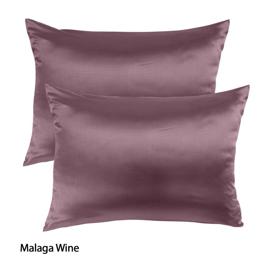 Royal Comfort Mulberry Soft Silk Hypoallergenic Pillowcase Twin Pack 51 x 76cm - Malaga Wine