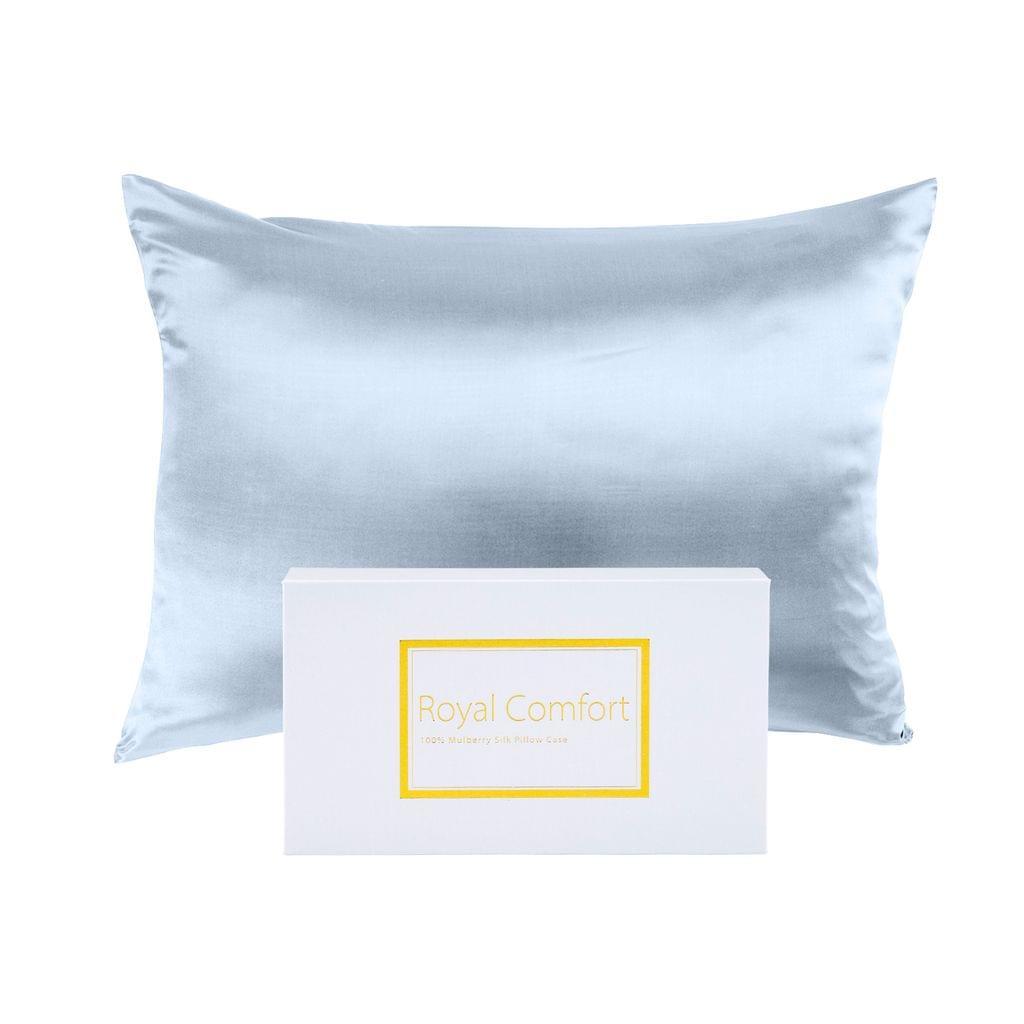 Royal Comfort Pure Silk Pillow Case 100% Mulberry Silk Hypoallergenic Pillowcase - Soft Blue