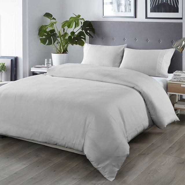 Royal Comfort Bamboo Blended Quilt Cover Set 1000TC Ultra Soft Luxury Bedding - King - Portland Grey