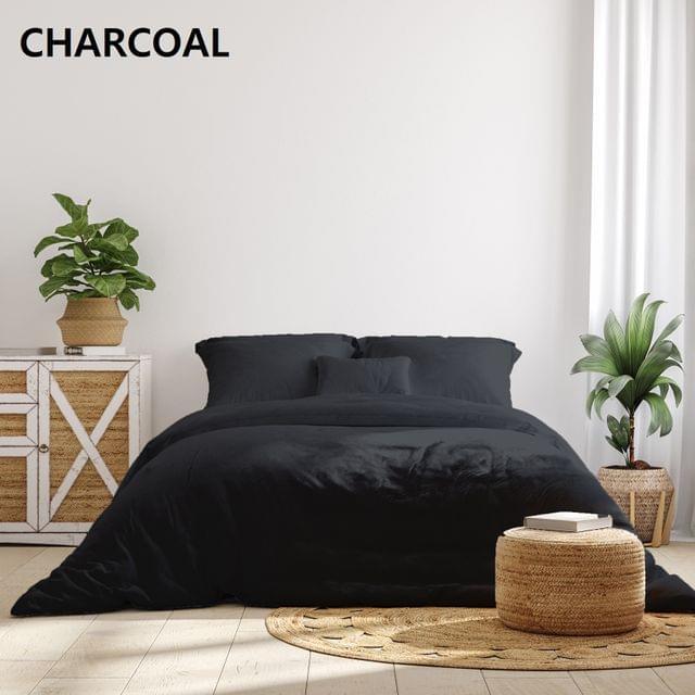 Royal Comfort 1000TC Hotel Grade Bamboo Cotton Sheets Pillowcases Set Ultrasoft - Queen - Charcoal