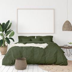 Balmain 1000 Thread Count Hotel Grade Bamboo Cotton Quilt Cover Pillowcases Set - Queen - Olive