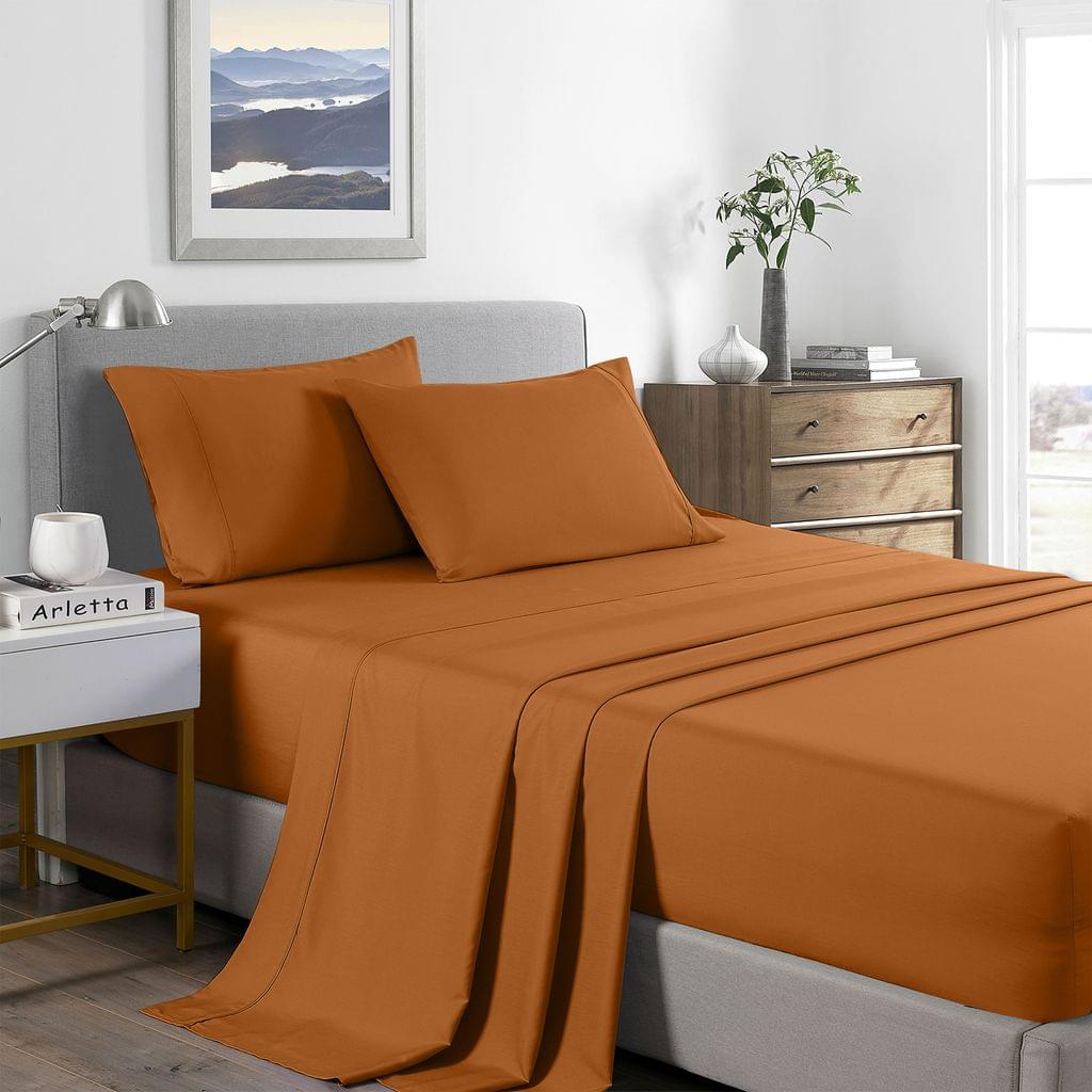 Royal Comfort 2000 Thread Count Bamboo Cooling Sheet Set Ultra Soft Bedding - King - Rust